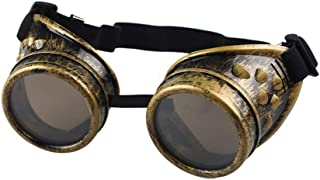 Round Rave Gold Novelty Cosplay Steampunk Goggles Cyber Glasses Punk Style Cosplay in a Gothic Style Goth Rustic Rivet