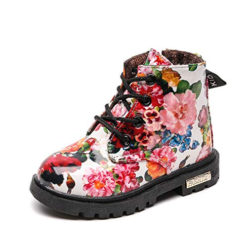 Komfyea Toddler Snow Boots Boy's Girl's Warm Waterpoor Ankle Side Zipper Combat Boots