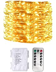 Warm White Led Lights String (10 m) For Indoor & Outdoor Home & Ramadan Decoration - Battery Operated With Remote Control