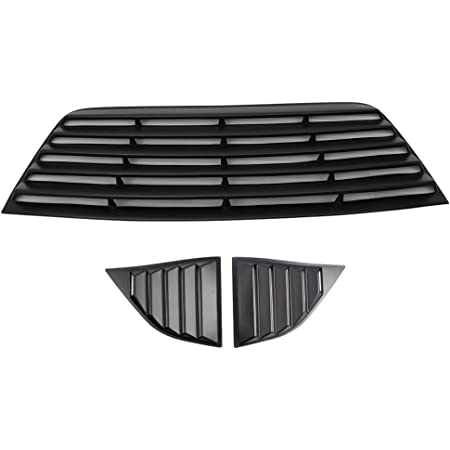 IKON MOTORSPORTS Rear Window Louver Compatible With 2008-2019 Dodge Challenger 09 10 11 12 13 14 15 16 17 18 V2 Style Carbon Fiber Print Rear Windshield Louver Sun Shade Cover