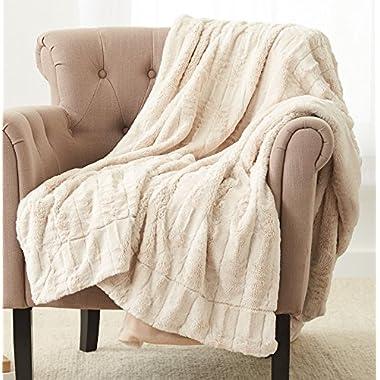 Pinzon Faux Fur Throw Blanket 63  x 87 , Ivory