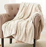 Amazon Brand – Pinzon Faux Fur Throw Blanket - 63 x 87 Inch, Ivory