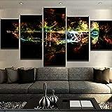 FJKYF 100×55cm 5 Stücke Wandkunst Trompete Flammen Leinwand Malerei Modulare Poster Wohnkultur Für Wohnzimmer Gedruckt Bilder Kunstwerk