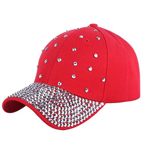 LKXHarleya Baseball Cap Frauen MäDchen Outdoor Sport Hut Mode Sommer Sonnenhut Alltagskleidung, Kinder, A010 Rot-Silber Stein