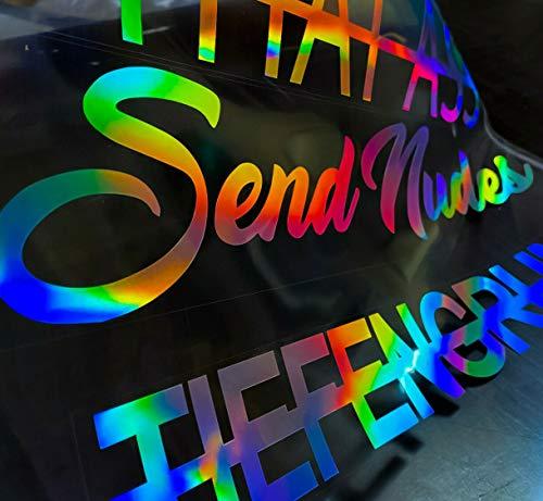 Auto Aufkleber Hologramm Autoaufkleber Heckscheibenaufkleber Frontscheibe MOTIVAUSWAHL + WUNSCHFARBE Sticker Send nudes fake taxi Oilslick Schiebenkeil Sonnenblendstreifen