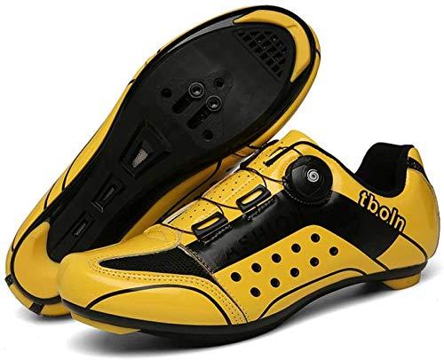 KUXUAN Calzado de Ciclismo de Carretera para Hombre SPD Calzado de Ciclismo Al Aire Libre Transpirable con Tacos SPD,Yellow-39=(245mm)