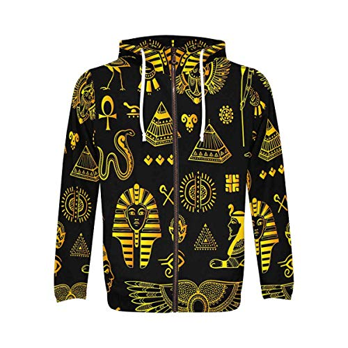 InterestPrint Men's Pullover Full Zip Hoodies Sweatshirt Tribal Ethnic Set of Egyptian Symbols 4XL