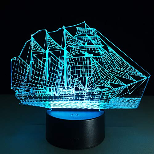 BFMBCHDJ 3D Retro Ancient Sailing Sea Boat Ship LED Lamp 7 Colors Changing Illusion Night Light USB Table Desk Decor Lighting