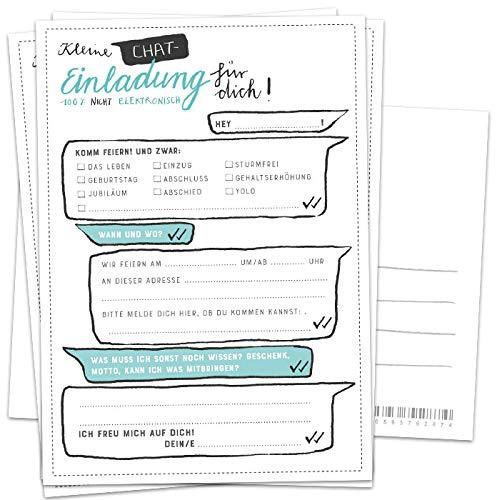 50 Einladungskarten - Kleine Chat Einladung für dich - Weiß Türkis Grün, Postkarten Einladungen zum Geburtstag, Jubiläum, Party, Einzug, Abschluss, Abschiedsfest, DIY Design mit Adressfeld