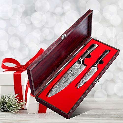 Sunnecko koksmes set 2-delig damast keukenmes professioneel universeel mes in houten geschenkverpakking - extra scherpe lange levensduur - Elite serie