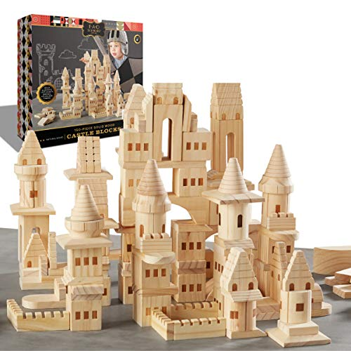 {150 Piece Set} Wooden Castle Building Blocks Set FAO SCHWARZ Toy Solid Pine Wood Block Playset Kit for Kids, Toddlers, Boys, and Girls, Fantasy Medieval Knights and Princesses with Bridges and Arches