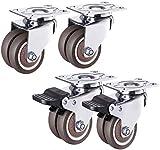 Juego de ruedas universales y bloqueo de freno para muebles, 4 ruedas de doble fila, resistente al desgaste (color: marrón, tamaño: 70 x 56 x 74 mm)