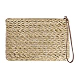 FENICAL FENICAL Straw Zipper Clutch Bag Bohemian Wristlet Women Summer Beach Purse and Handbag