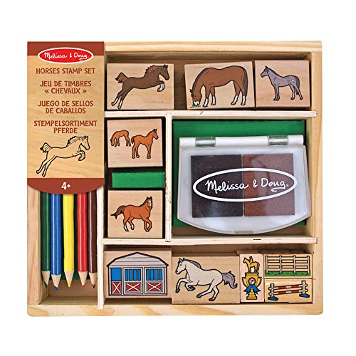 Melissa & Doug 12410 Holzstempel Set Pferde (16 Teile)