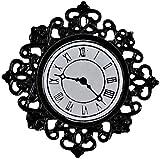 Melody Jane Dollhouse Black Filigree Wall Clock Miniature 1:12 Ornament Accessory