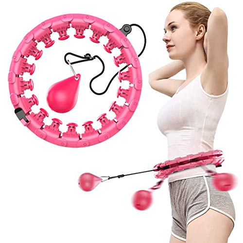 ROUSKY Weighted Intelligent Hula Hoop for Adults Beginners Won't Fall, Abdomen Fitness Increase Beauty, Fitness Weight Loss and Massage, 24 Knots Detachable (Pink)
