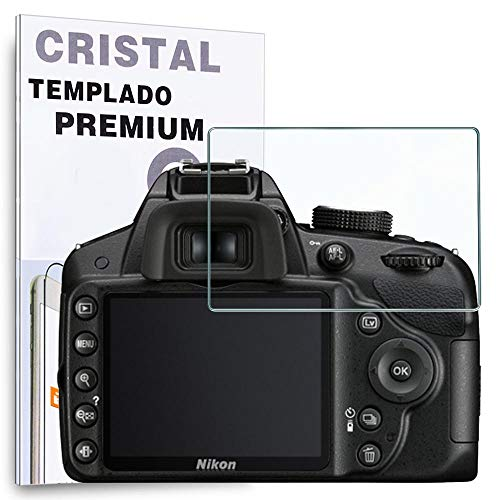 REY Protector de Pantalla para Nikon D3100 - D3200 - D3300 - D3400 - D3500, Cristal Vidrio Templado Premium