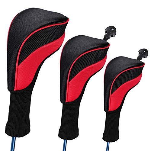 Honeyhouse 3 fundas de cabeza de madera para palos de golf de cuello largo, para Fairway Woods Driver 1, 3, 5 híbridos, 1680D Knit Golf para todos los clubes de Fairway y Driver (azul)