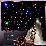 MuGuang 3x2m Cortina DMX cortina led dmx RGB 108pc LED Telón de fondo de estrella con controlador para DJ Stage Wedding Cumpleaños romántico Home Party Garden