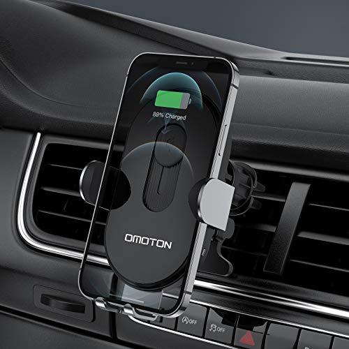 OMOTON Caricatore Wireless Auto Supporto Qi Telefono a Ricarica Wireless 15W per iPhone 12 Pro Max Mini/11 Pro/XS Max/XR Caricabatterie Auto-bloccaggio con Batteria 100mAh per Samsung S20/S10/S9 ecc