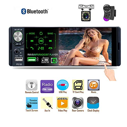 Liehuzhekeji Single Din Car Stereo AM Radio Receiver, 4.1'' TFT Touch Screen Car MP5 Player, Support Bluetooth Aux-in/USB/SD/FM&AM Quick Charge with 12 LED Lights Camera