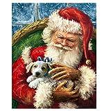 XXSCZ Set de Bricolaje para Pintar por números para Adultos y niños, con Lienzo de Lino con Santa Claus Christmas-9 Pintura al óleo, 40x50 cm (Sin Marco)