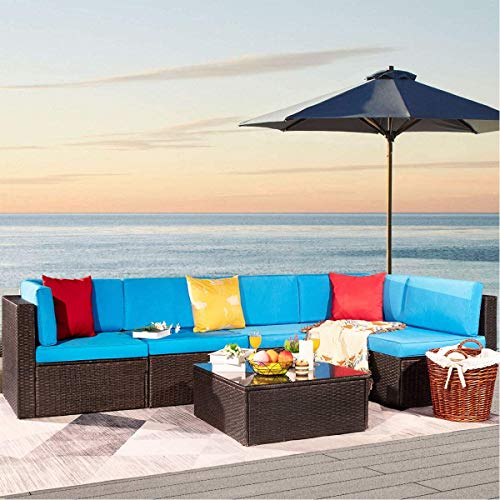 Furniwell 6 Piece Outdoor Sectional Furniture Set, All Weather Modern Patio Furniture Sets PE Rattan Manual Wicker Conversation Set with Cushion and Glass Tabl for Lawn, Backyard, Poolside (Blue)