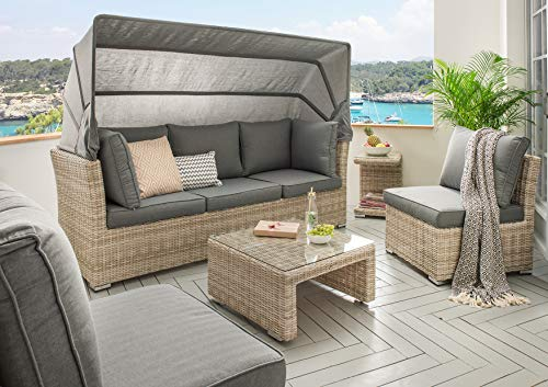Destiny Lounge Loungegruppe Aruba Sitzgruppe Sofaset Faltdach Polyrattan (76070) - 3