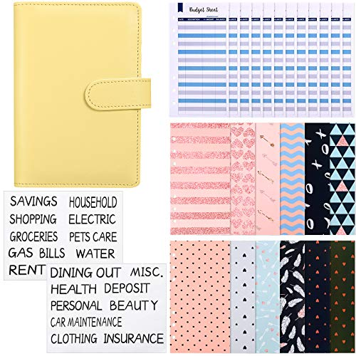 27 Pieces A6 Binder Budget Envelopes Money Envelopes Cash Envelope System PU Leather Notebook Binder 6 Holes Expense Budget Sheets and Labels for Budgeting, Bill Planner (Yellow)