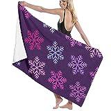 Gebrb Toallas de baño,Toalla de Playa,Manta de Playa,Camping Towel, Gym Towel, Sports Towel, Swimming Towel 31'x51' - Christmas Purple Snowflake Print
