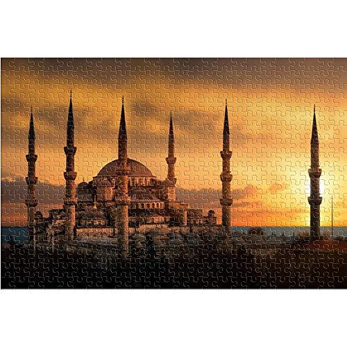 KKASD Puzzle für Erwachsene 1000 Teile Istanbul Mosque Puzzle für Erwachsene 1000 Sunset Scenery Lernspielzeug DIY Geschenk Spaß Spiel (75x50cm)