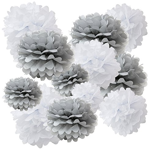 Floral Reef Variety Set of 12 (Assorted Grey White Monotone Color Pack) consisting of 8' 10' 12' 14' Tissue Paper Pom Poms Flower