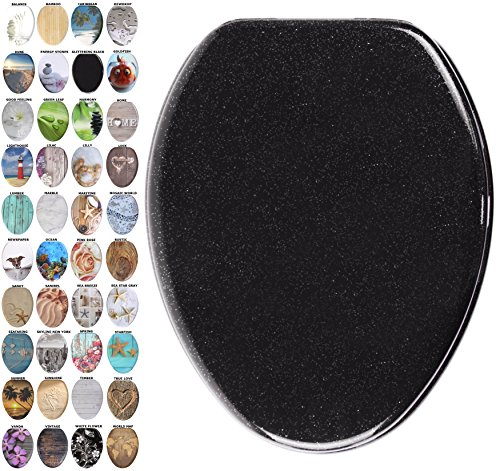 Sanilo Elongated Toilet Seat, Wide Choice of Slow Close Toilet Seats, Molded Wood, Strong Hinges (Glittering Black)