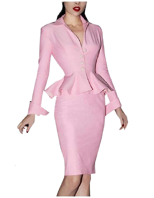 Tootess 女性2ピースFalbalaボディーコン包帯ビジネススカートスーツ