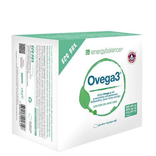 Ovega3 360 Omega 3 Kapseln mit 3 natürlichen Antioxidantien Astaxanthin, Q10, Vitamin C, ohne Gelatine, schadstofffrei (1x220g)