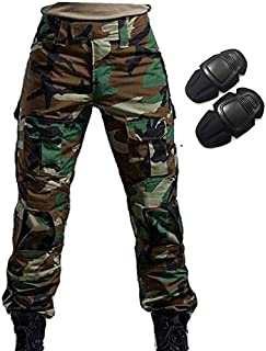 H World Shopping Military Army Tactical Airsoft Paintball Shooting Pants Combat Men Pants with Knee Pads Woodland