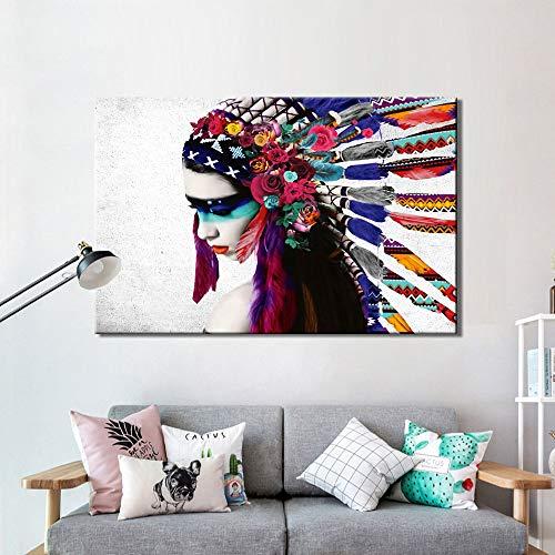 Porträt Feder Mädchen Pop-Art Leinwand Malerei Poster und Foto Wandkunst Bild für Wohnzimmer Wand Wohnkultur (kein Rahmen) 60x90CM