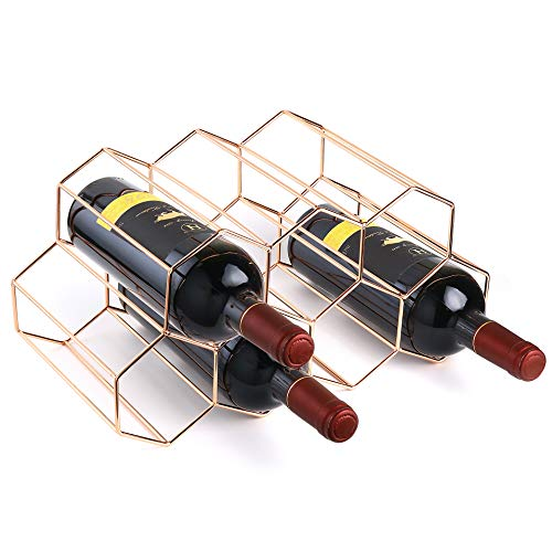 Siveit Countertop Wine Rack, Metal 9 Bottle Wine Holder for Wine Storage, Tabletop Free Standing Wine Bottle Holder for Bar, Wine Cellar, Pantry, Basement, Cabinet, No Assembly Required (Rose Gold)