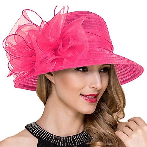 Damen Ascot Derby Kirche Hüte Britische Hochzeit Tee-Party Sonnenhut S051 (Rose)