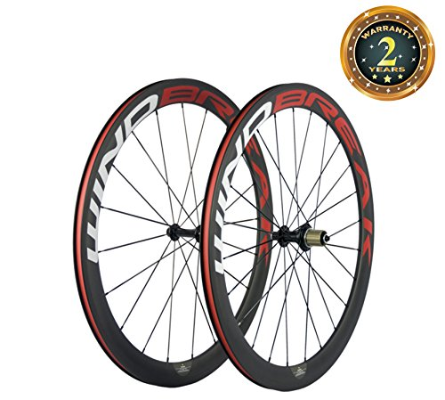 WINDBREAK BIKE 700C 50mm Clincher Full Carbon Fiber Spoke Bicycle Wheel with Matte finish