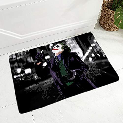LDHHZ Tapis de Flanelle Clown Joker Tapis de Sol pour Salle à Manger Chambre décor Dessin animé paillasson Tapis de paillasson antidérapant 40x60cm
