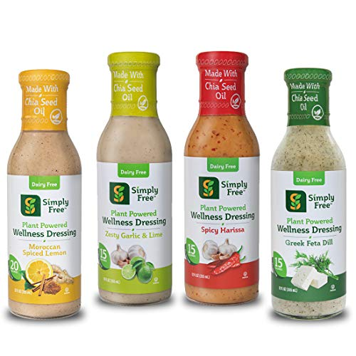 Simply Free (Mixed 4-Pack) Plant Based Wellness Salad Dressing, Vegan, Low Calorie, Low Fat, No Added Sugar, Dairy-Free, Omega 3, Prebiotics, Gluten-Free, Soy-Free, Non GMO, Kosher, 48 FL OZ