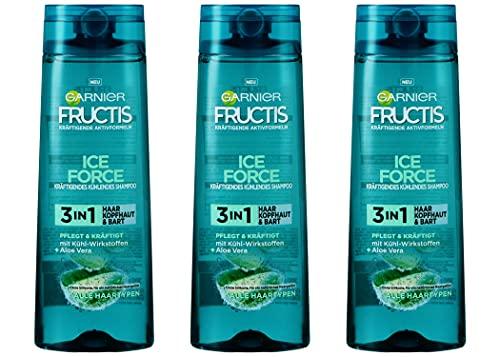 Garnier Fructis Shampoo ICE FORCE 3in1 Haar, Kopfhaut & Bart Alle Haartypen 250ml (3er Pack)