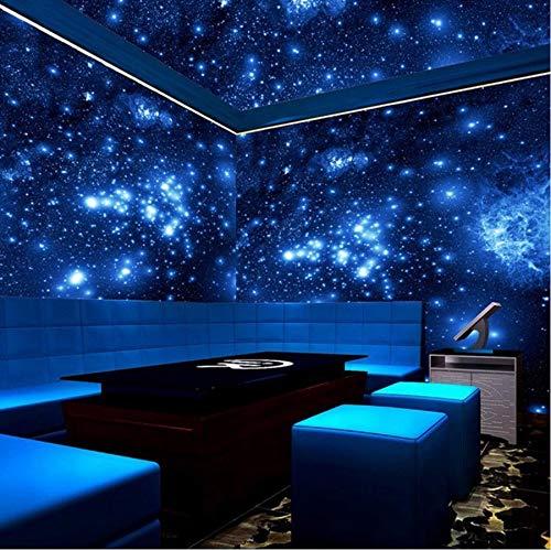 Xzfddn Wandtapete, 3D, Stereo, Blau, Nacht-Universum, Weltraum, glänzende Sterne, Wandbild, Tapete, für Wand, Decke, Wohnzimmer, Bar, KTV Dekor