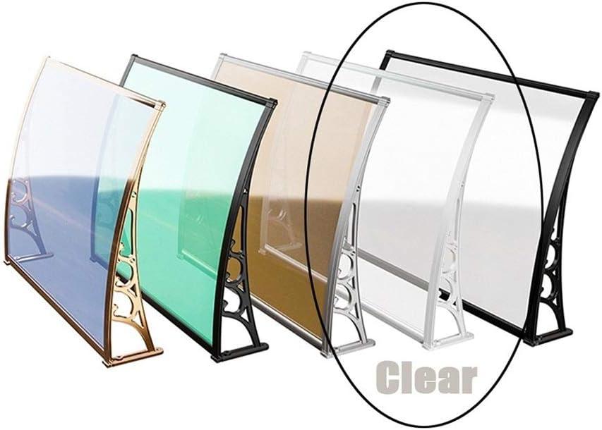 soporte ABS 120 cm de ancho alero para arco de dos hojas techo de puerta para exterior toldo pinza negra Marquesina para puerta de casa tejado de policarbonato transparente de 5 mm de grosor