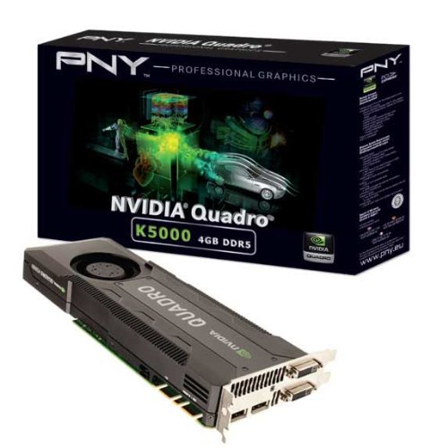 NVIDIA Quadro K5000; 2.1 Teraflops; 4 GB GDDR5 256 bit 173 Gbps; DVI-I; DVI-D; 2 x DisplayPort 1.2; PCIe 3.0 (VCQK5000-PB)