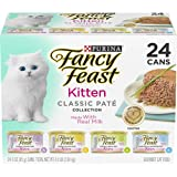 Purina Fancy Feast Grain Free Kitten Food Variety Pack, Classic Kitten Food Pate Collection, 4 flavors - (24) 3 oz. Boxes