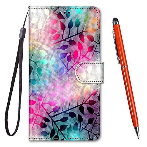 TOUCASA Kompatibel mit Xperia L2 Hülle, Handyhülle für Xperia L2,Premium Brieftasche PU Leder Flip [Kreativ Gemalt] Hülle Handytasche Klapphülle für Sony Xperia L2 (Bunte Blätter)