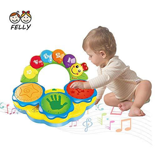 Felly Tambores Juguete para bebés de 6-12 años Juguete portátil con música para bebés Juguete Instrumental de Mano Juguete de música/Luce/Sonido Graciosos(Amarillo)