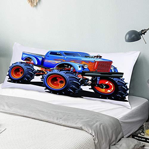 Personalizado Funda de Almohada Larga,Dibujos Animados Monster Truck Neumáticos enormes Off Road Heavy Large Tractor Rue,Funda de Almohada para el Cuerpo con Cremallera Sofá para Dormitorio,54' x 20'